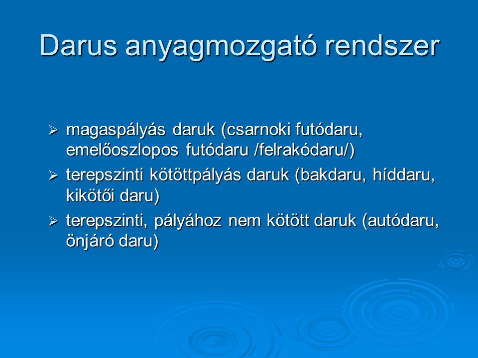 Darus anyagmozgató rendszer  magaspályás daruk (csarnoki futódaru, emelőoszlopos futódaru /felrakódaru/)  terepszinti kötöttpályás daruk (bakdaru, h