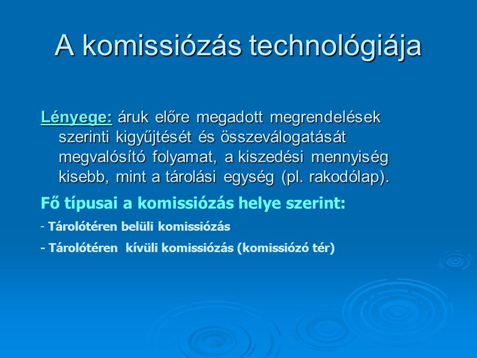 A komissiózás technológiája Lényege: áruk előre megadott megrendelések szerinti kigyűjtését és összeválogatását megvalósító folyamat, a kiszedési menn