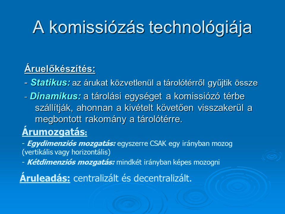 A komissiózás technológiája Áruelőkészítés: - Statikus: az árukat közvetlenül a tárolótérről gyűjtik össze - Dinamikus: a tárolási egységet a komissió