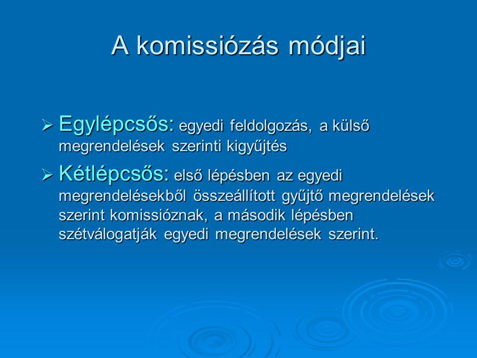 A komissiózás módjai  Egylépcsős: egyedi feldolgozás, a külső megrendelések szerinti kigyűjtés  Kétlépcsős: első lépésben az egyedi megrendelésekből