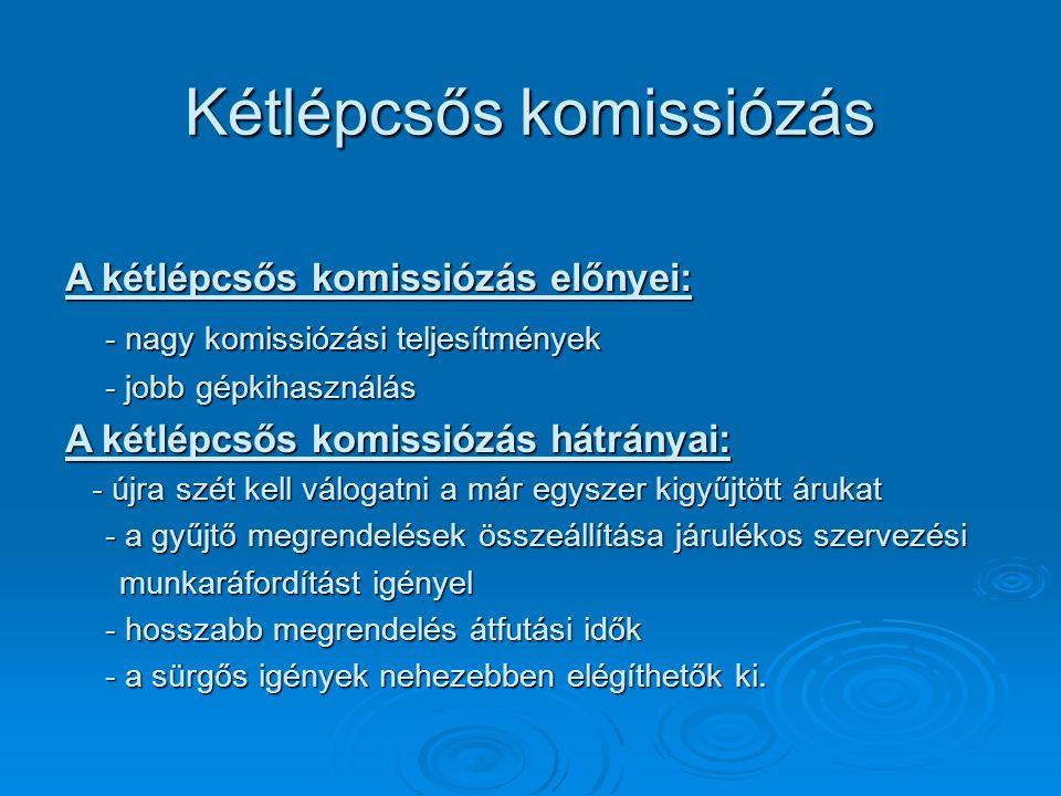 Kétlépcsős komissiózás A kétlépcsős komissiózás előnyei: - nagy komissiózási teljesítmények - jobb gépkihasználás A kétlépcsős komissiózás hátrányai: