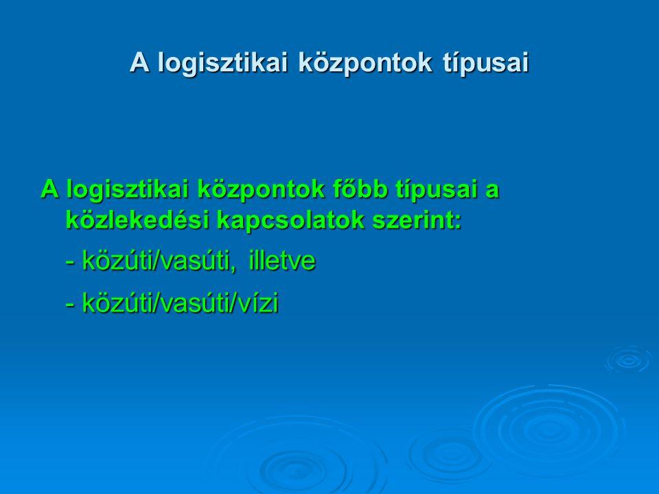 A logisztikai központok típusai A logisztikai központok főbb típusai a közlekedési kapcsolatok szerint: - közúti/vasúti, illetve - közúti/vasúti/vízi