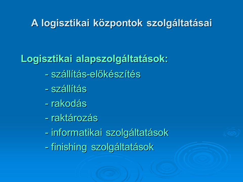 A logisztikai központok szolgáltatásai Logisztikai alapszolgáltatások: - szállítás-előkészítés - szállítás - rakodás - raktározás - informatikai szolg