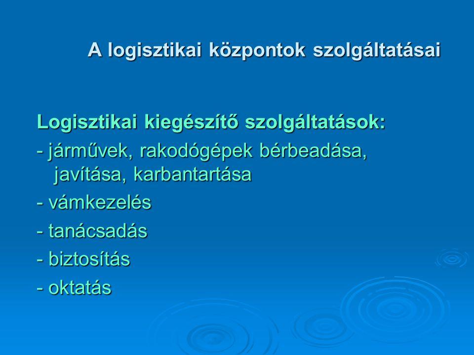 A logisztikai központok szolgáltatásai Logisztikai kiegészítő szolgáltatások: - járművek, rakodógépek bérbeadása, javítása, karbantartása - vámkezelés