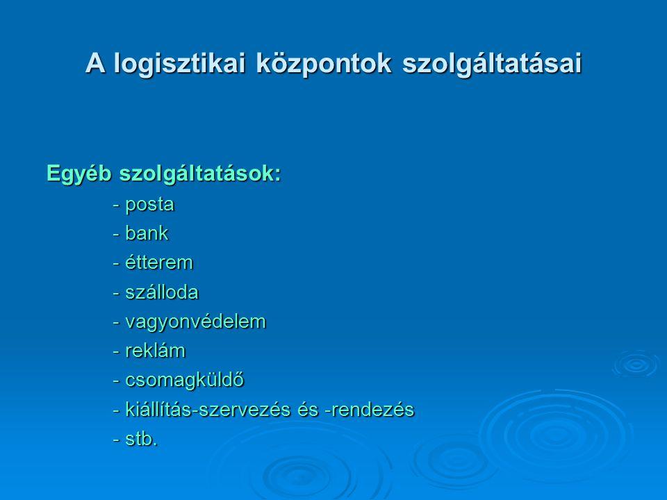A logisztikai központok szolgáltatásai Egyéb szolgáltatások: - posta - bank - étterem - szálloda - vagyonvédelem - reklám - csomagküldő - kiállítás-sz