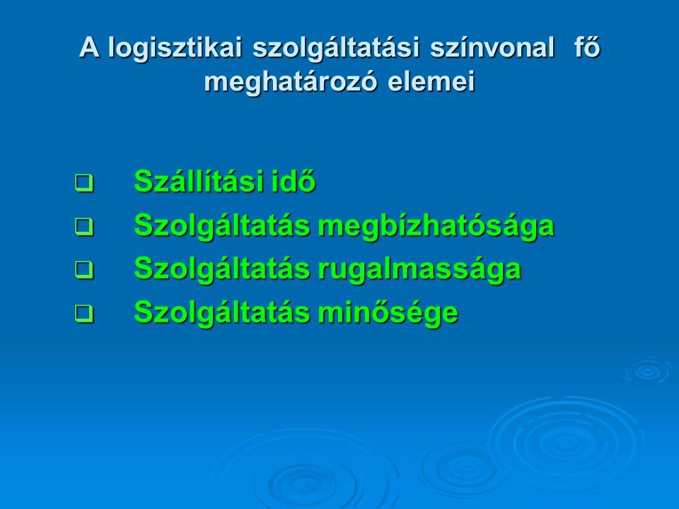 A logisztikai szolgáltatási színvonal fő meghatározó elemei  Szállítási idő  Szolgáltatás megbízhatósága  Szolgáltatás rugalmassága  Szolgáltatás