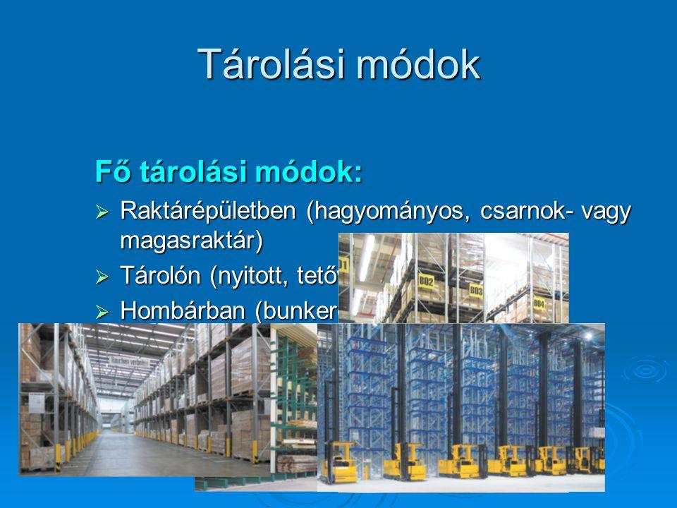 Tárolási módok Fő tárolási módok:  Raktárépületben (hagyományos, csarnok- vagy magasraktár)  Tárolón (nyitott, tetővel ellátott)  Hombárban (bunker