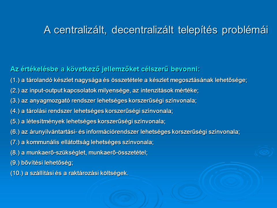 A centralizált, decentralizált telepítés problémái Az értékelésbe a következő jellemzőket célszerű bevonni: (1.) a tárolandó készlet nagysága és össze