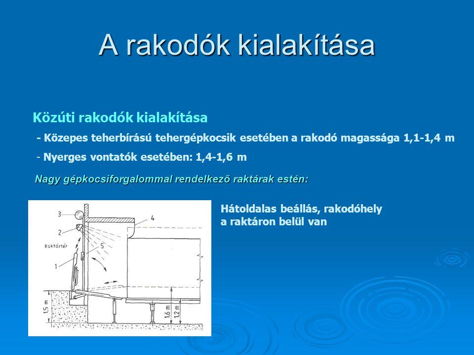 A rakodók kialakítása Közúti rakodók kialakítása - Közepes teherbírású tehergépkocsik esetében a rakodó magassága 1,1-1,4 m - Nyerges vontatók esetébe