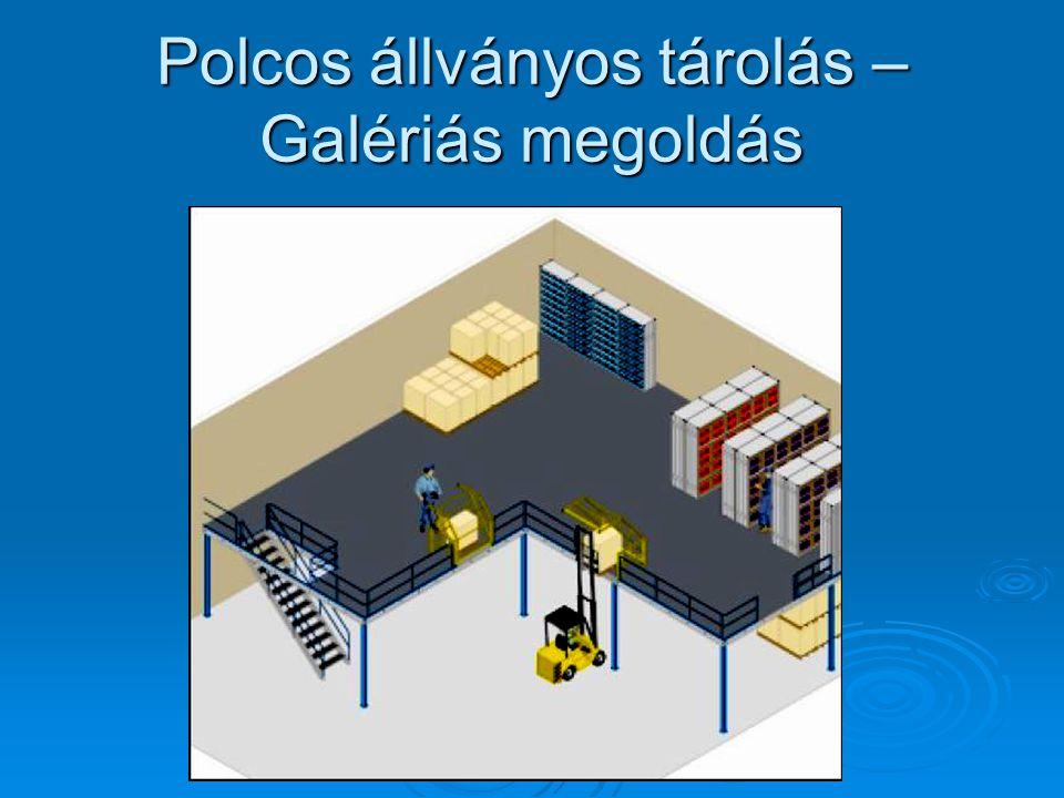 Polcos állványos tárolás – Galériás megoldás