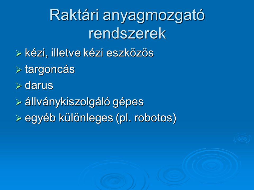 Raktári anyagmozgató rendszerek  kézi, illetve kézi eszközös  targoncás  darus  állványkiszolgáló gépes  egyéb különleges (pl. robotos)