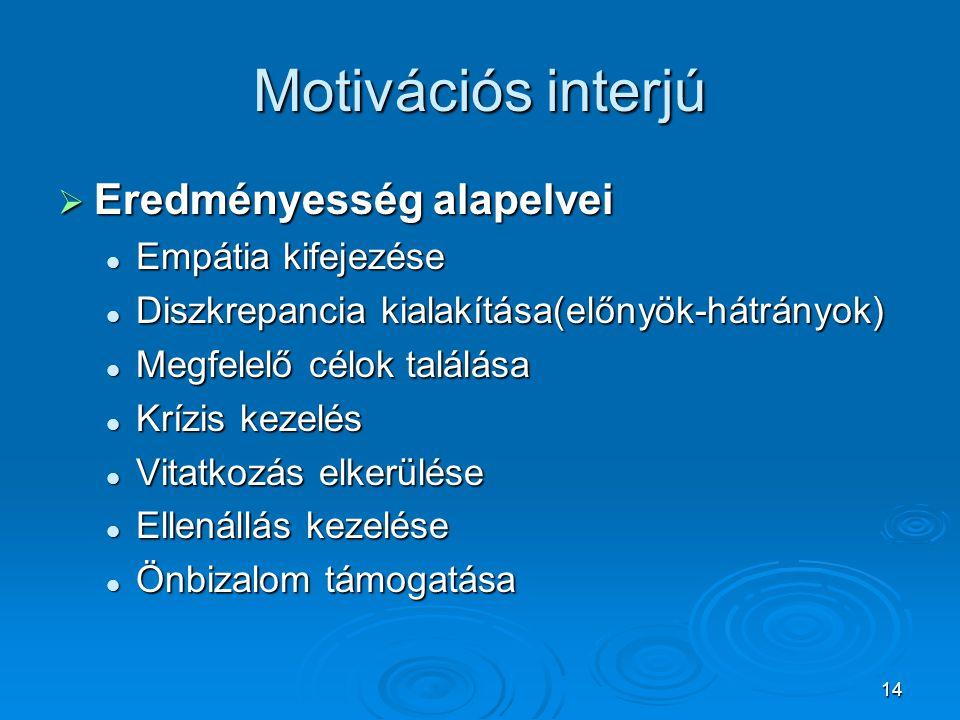 14 Motivációs interjú  Eredményesség alapelvei  Empátia kifejezése  Diszkrepancia kialakítása(előnyök-hátrányok)  Megfelelő célok találása  Krízi