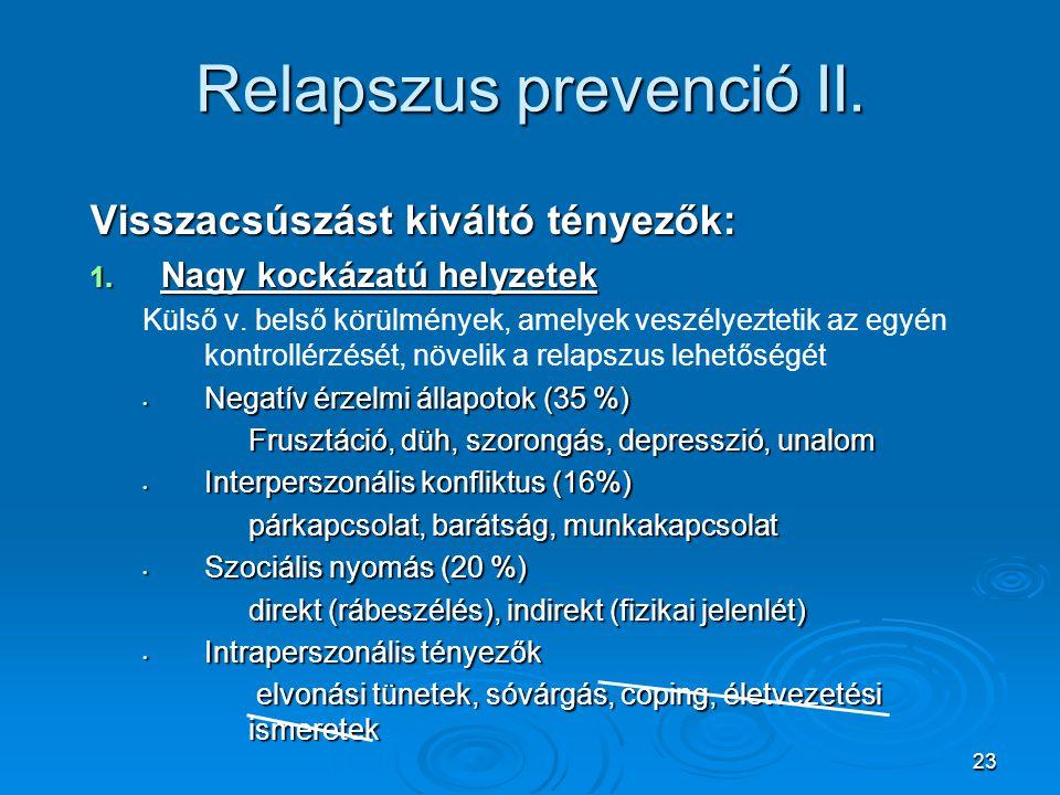 23 Relapszus prevenció II. Visszacsúszást kiváltó tényezők: 1. Nagy kockázatú helyzetek Külső v. belső körülmények, amelyek veszélyeztetik az egyén ko