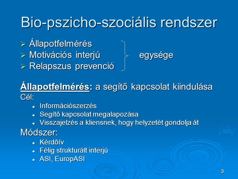 3 Bio-pszicho-szociális rendszer  Állapotfelmérés  Motivációs interjúegysége  Relapszus prevenció Állapotfelmérés: a segítő kapcsolat kiindulása Cé