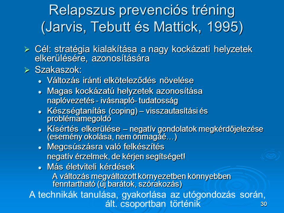 30 Relapszus prevenciós tréning (Jarvis, Tebutt és Mattick, 1995)  Cél: stratégia kialakítása a nagy kockázati helyzetek elkerülésére, azonosítására