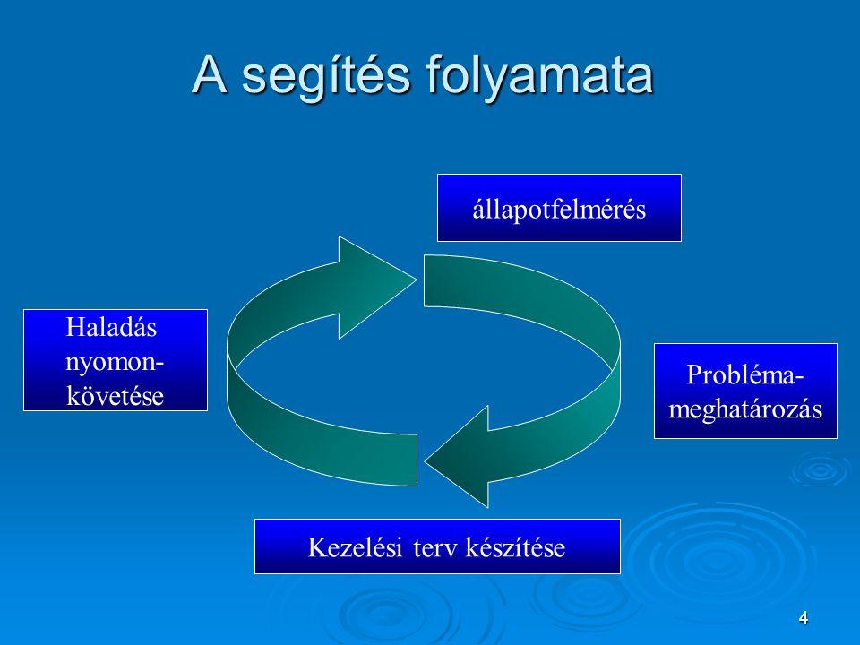 4 A segítés folyamata állapotfelmérés Probléma- meghatározás Kezelési terv készítése Haladás nyomon- követése Kezelési terv készítése Haladás nyomon-