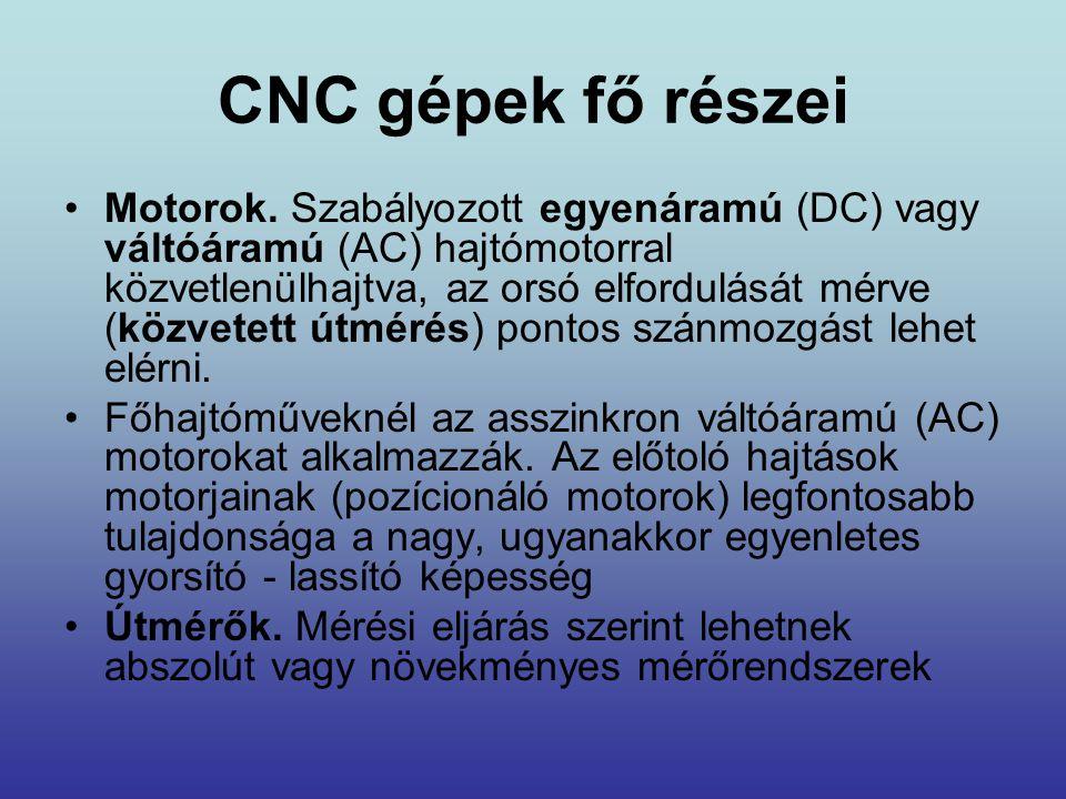 CNC gépek fő részei •Motorok. Szabályozott egyenáramú (DC) vagy váltóáramú (AC) hajtómotorral közvetlenülhajtva, az orsó elfordulását mérve (közvetett