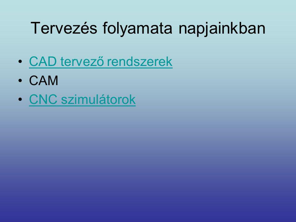 Tervezés folyamata napjainkban •CAD tervező rendszerekCAD tervező rendszerek •CAM •CNC szimulátorokCNC szimulátorok