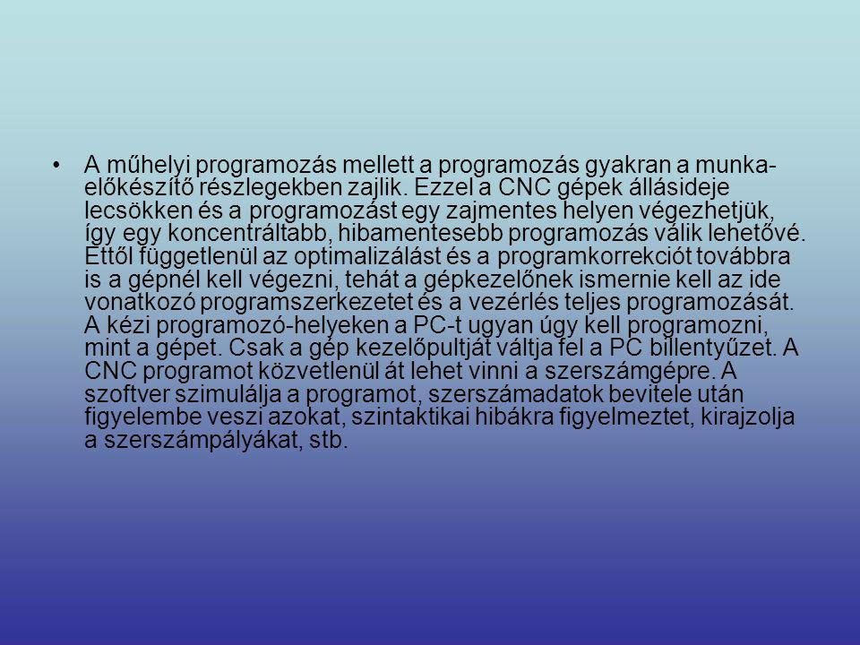 •A műhelyi programozás mellett a programozás gyakran a munka- előkészítő részlegekben zajlik. Ezzel a CNC gépek állásideje lecsökken és a programozást