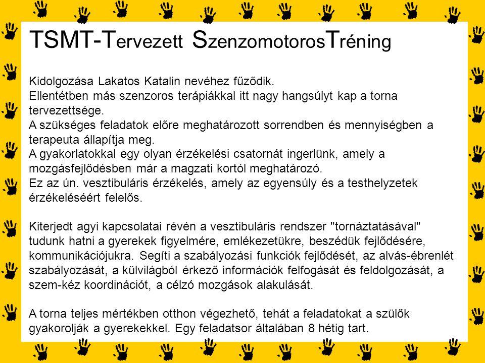 TSMT-T ervezett S zenzomotoros T réning Kidolgozása Lakatos Katalin nevéhez fűződik. Ellentétben más szenzoros terápiákkal itt nagy hangsúlyt kap a to