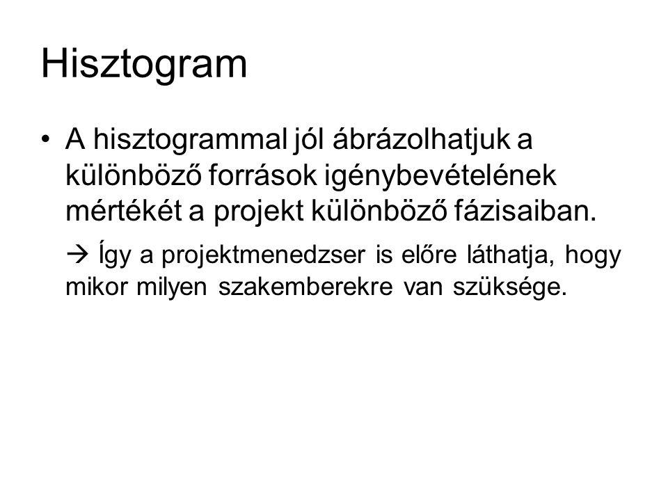 Hisztogram •A hisztogrammal jól ábrázolhatjuk a különböző források igénybevételének mértékét a projekt különböző fázisaiban.  Így a projektmenedzser