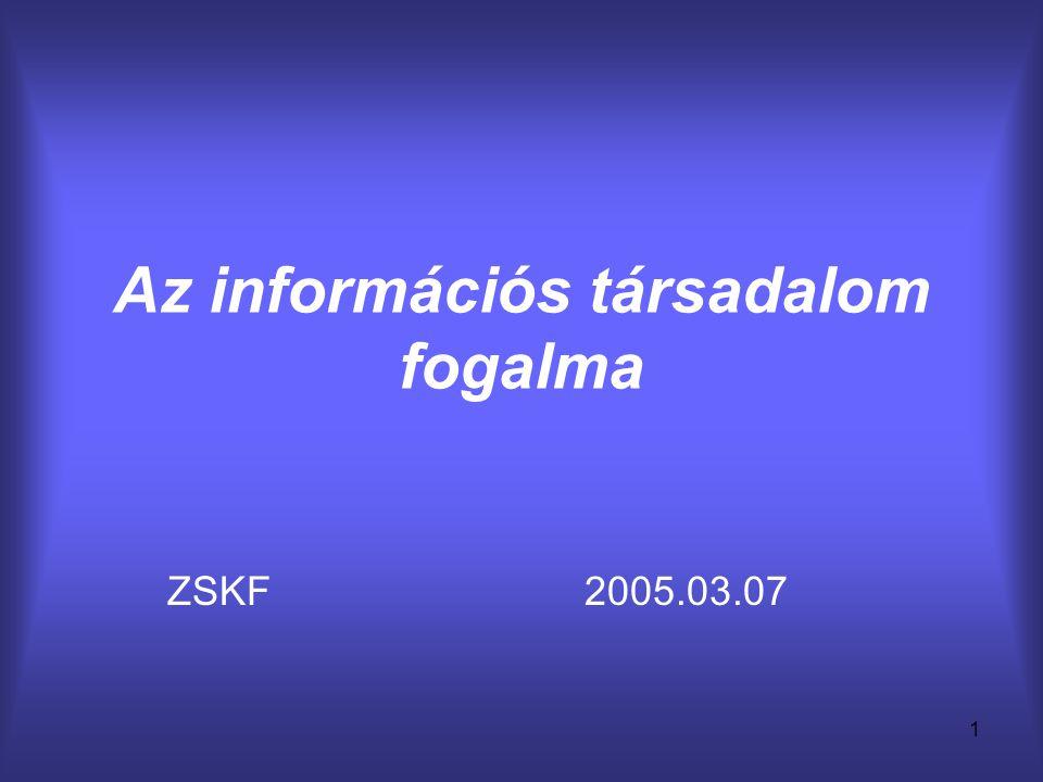 1 Az információs társadalom fogalma ZSKF2005.03.07