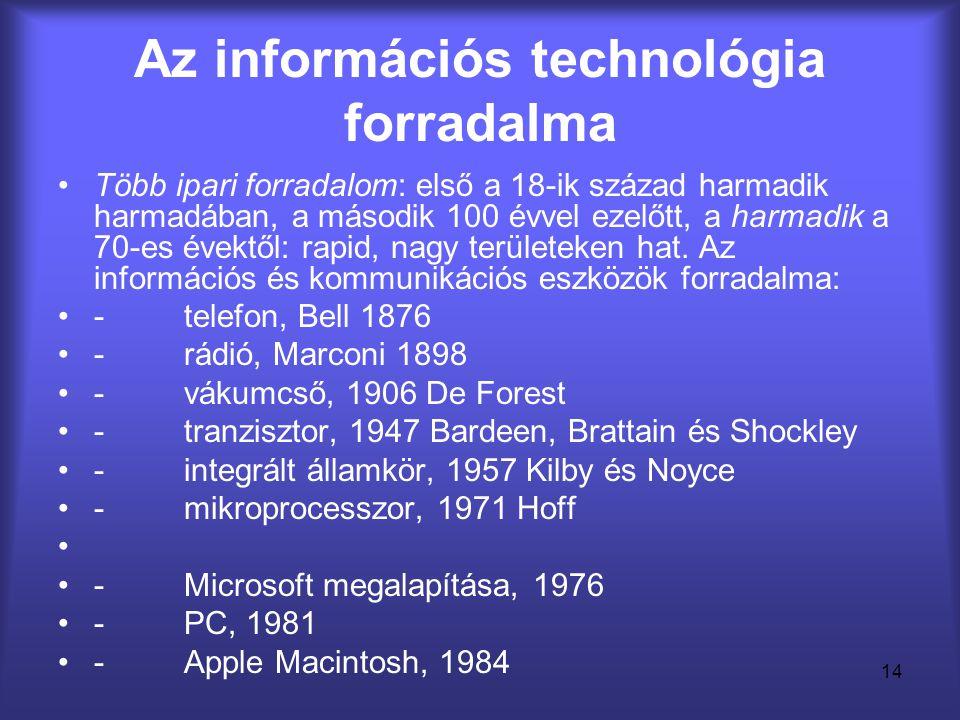 14 Az információs technológia forradalma •Több ipari forradalom: első a 18-ik század harmadik harmadában, a második 100 évvel ezelőtt, a harmadik a 70