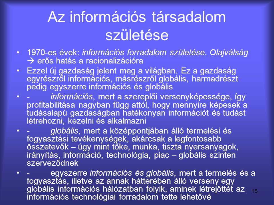 15 Az információs társadalom születése •1970-es évek: információs forradalom születése. Olajválság  erős hatás a racionalizációra •Ezzel új gazdaság
