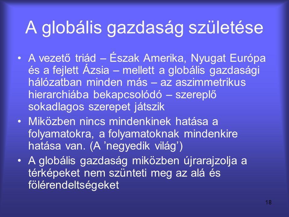 18 A globális gazdaság születése •A vezető triád – Észak Amerika, Nyugat Európa és a fejlett Ázsia – mellett a globális gazdasági hálózatban minden má