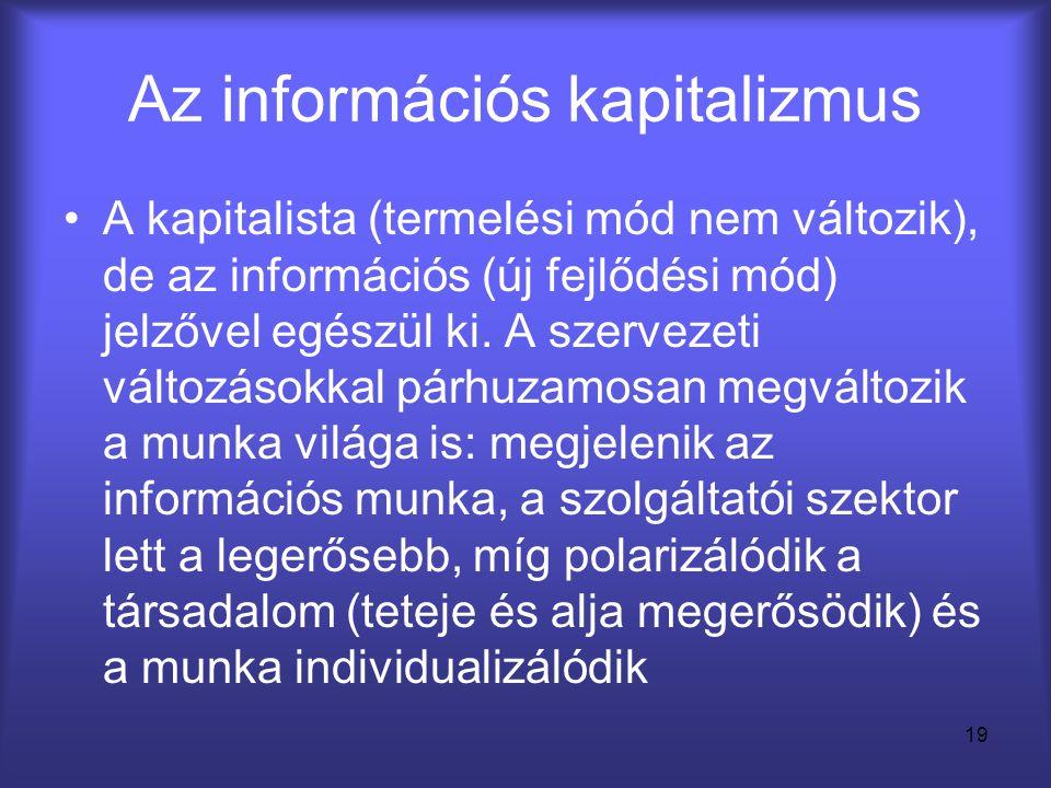 19 Az információs kapitalizmus •A kapitalista (termelési mód nem változik), de az információs (új fejlődési mód) jelzővel egészül ki. A szervezeti vál