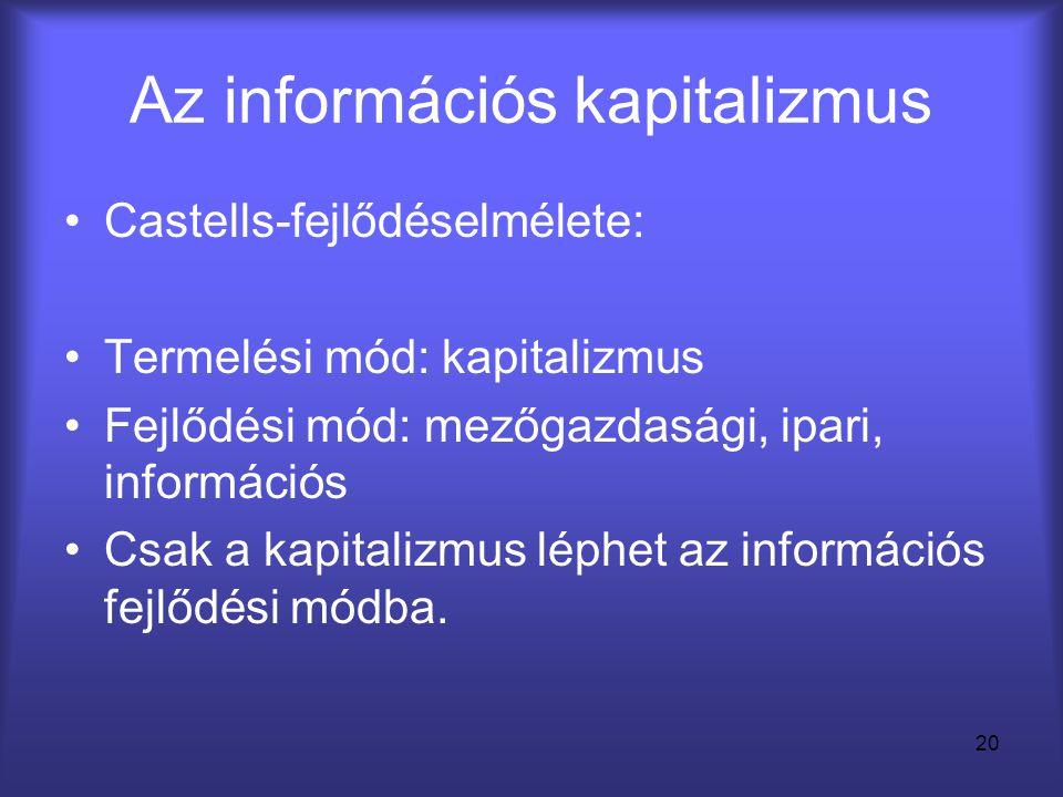 20 Az információs kapitalizmus •Castells-fejlődéselmélete: •Termelési mód: kapitalizmus •Fejlődési mód: mezőgazdasági, ipari, információs •Csak a kapi
