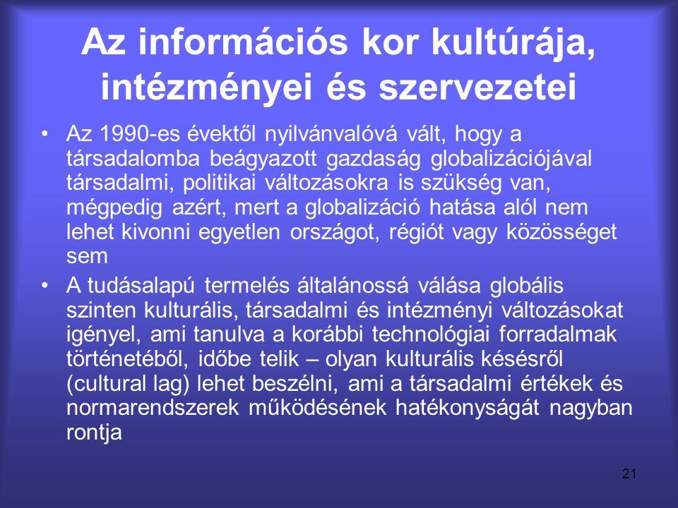 21 Az információs kor kultúrája, intézményei és szervezetei •Az 1990-es évektől nyilvánvalóvá vált, hogy a társadalomba beágyazott gazdaság globalizác