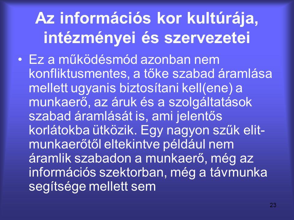 23 Az információs kor kultúrája, intézményei és szervezetei •Ez a működésmód azonban nem konfliktusmentes, a tőke szabad áramlása mellett ugyanis bizt