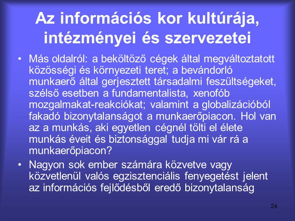 24 Az információs kor kultúrája, intézményei és szervezetei •Más oldalról: a beköltöző cégek által megváltoztatott közösségi és környezeti teret; a be