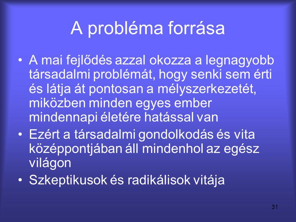 31 A probléma forrása •A mai fejlődés azzal okozza a legnagyobb társadalmi problémát, hogy senki sem érti és látja át pontosan a mélyszerkezetét, mikö