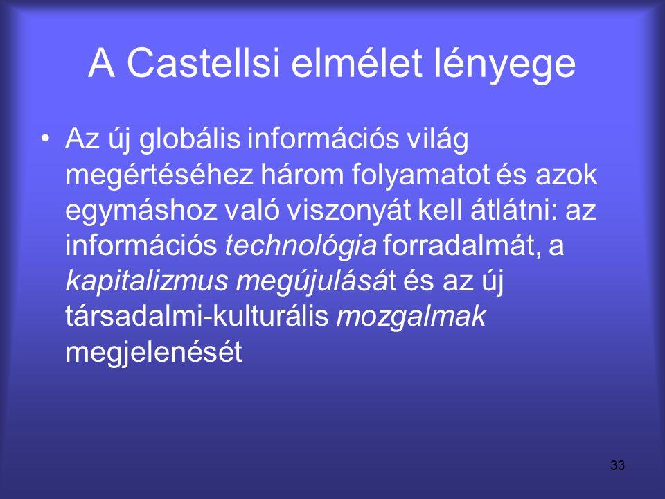 33 A Castellsi elmélet lényege •Az új globális információs világ megértéséhez három folyamatot és azok egymáshoz való viszonyát kell átlátni: az infor