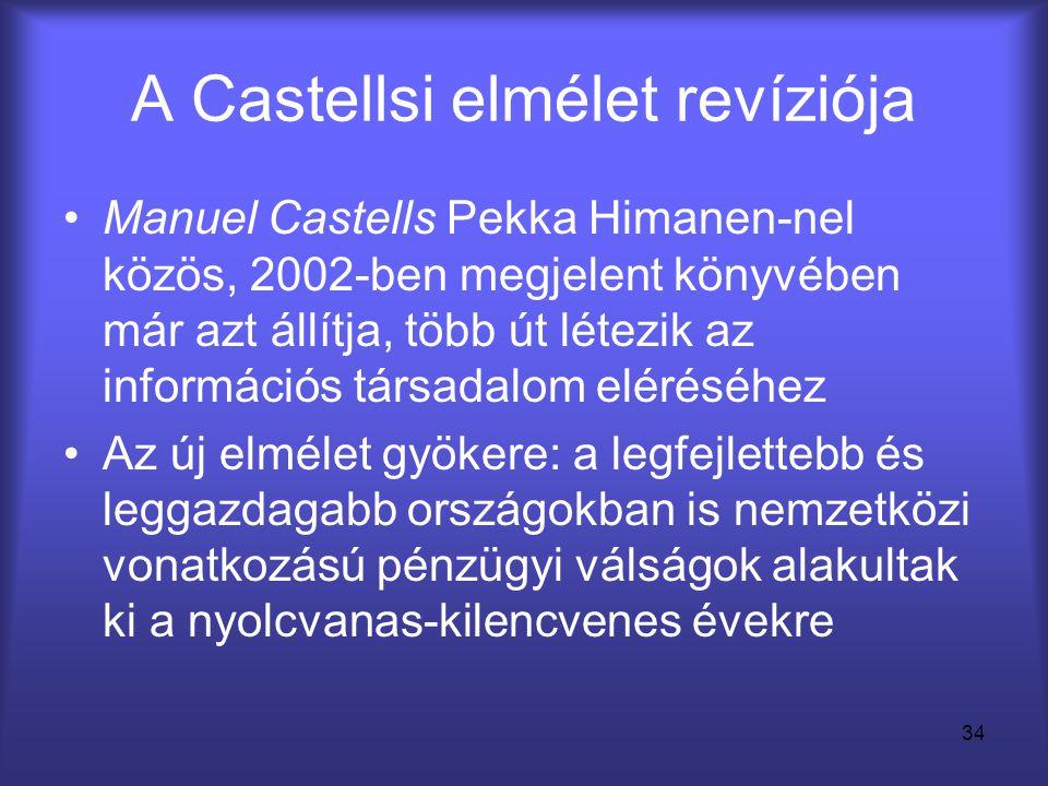 34 A Castellsi elmélet revíziója •Manuel Castells Pekka Himanen-nel közös, 2002-ben megjelent könyvében már azt állítja, több út létezik az információ
