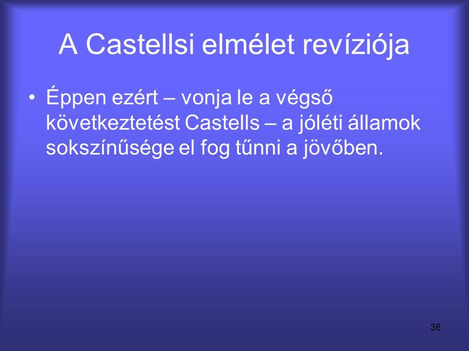 36 A Castellsi elmélet revíziója •Éppen ezért – vonja le a végső következtetést Castells – a jóléti államok sokszínűsége el fog tűnni a jövőben.