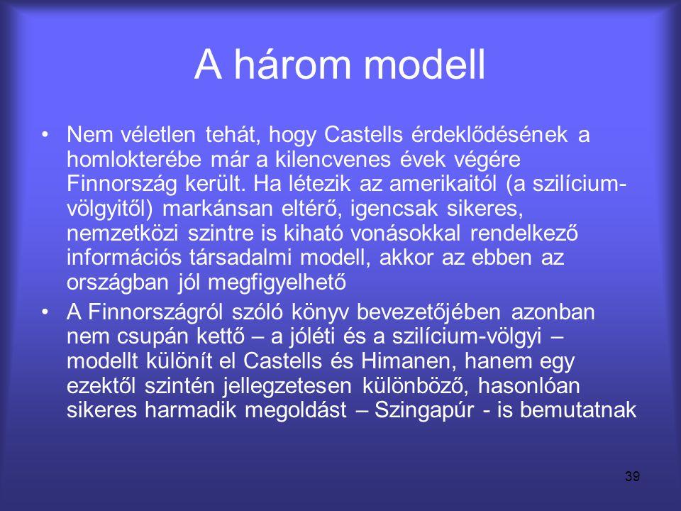 39 A három modell •Nem véletlen tehát, hogy Castells érdeklődésének a homlokterébe már a kilencvenes évek végére Finnország került. Ha létezik az amer