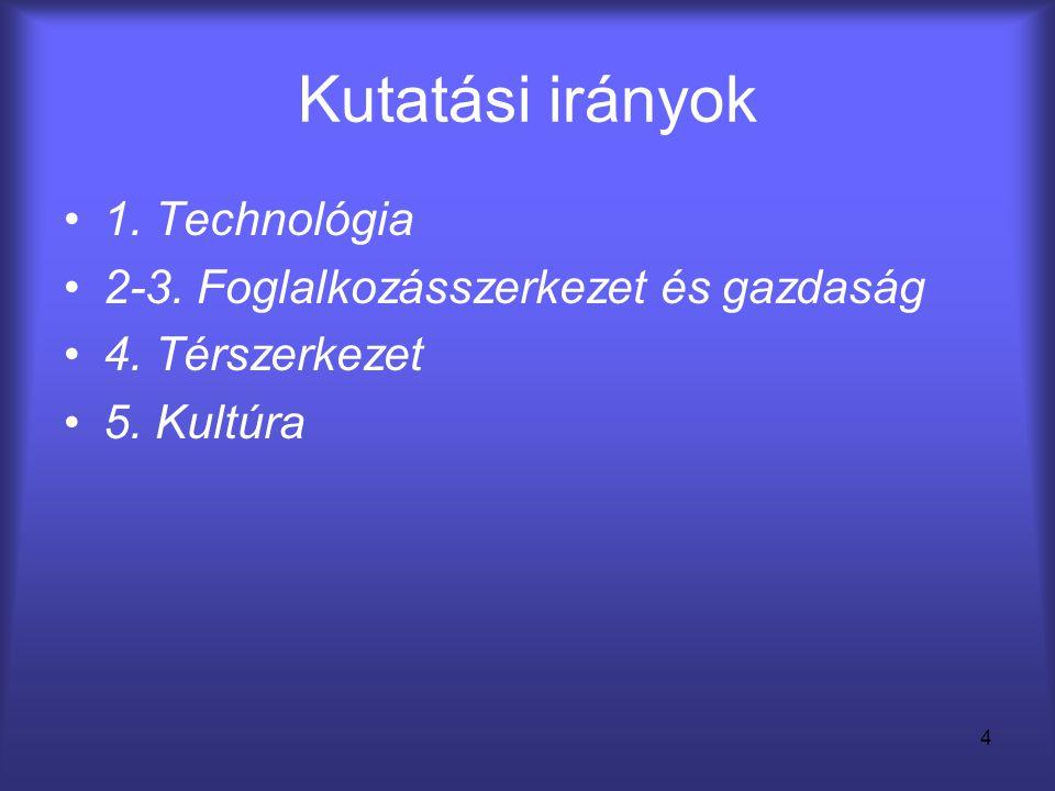 4 Kutatási irányok •1. Technológia •2-3. Foglalkozásszerkezet és gazdaság •4. Térszerkezet •5. Kultúra