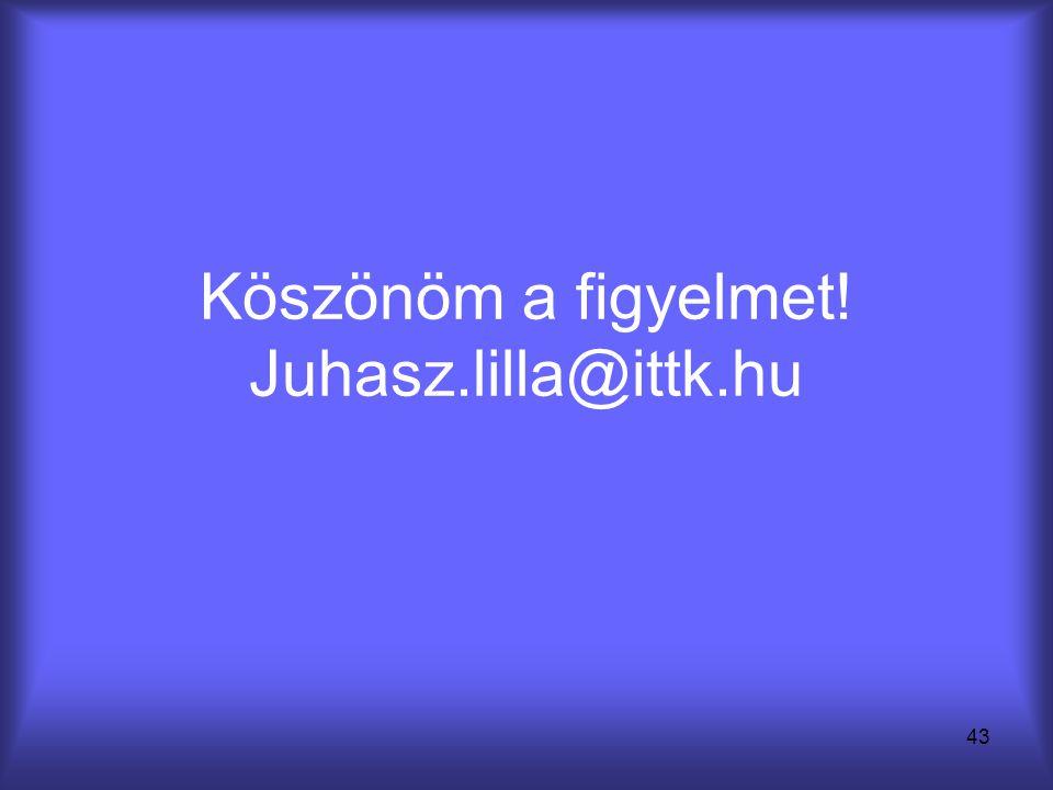 43 Köszönöm a figyelmet! Juhasz.lilla@ittk.hu