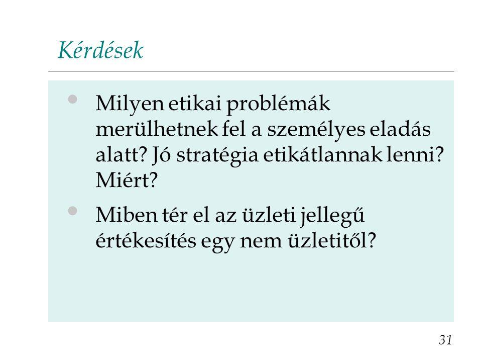 Kérdések • Milyen etikai problémák merülhetnek fel a személyes eladás alatt? Jó stratégia etikátlannak lenni? Miért? • Miben tér el az üzleti jellegű
