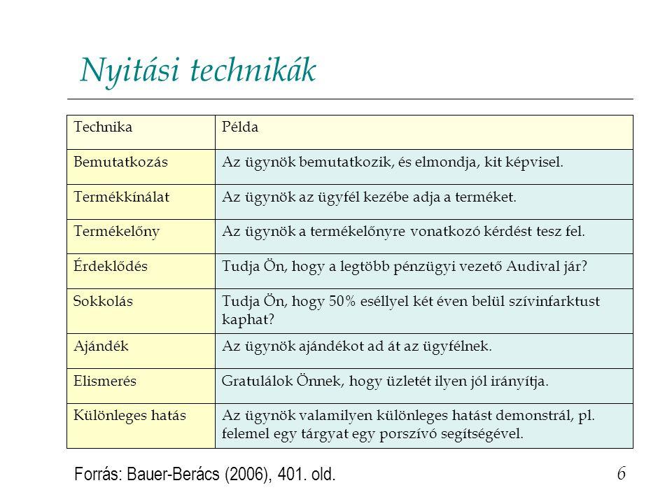 Nyitási technikák 6 Forrás: Bauer-Berács (2006), 401. old. Az ügynök valamilyen különleges hatást demonstrál, pl. felemel egy tárgyat egy porszívó seg