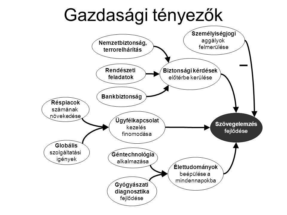 Web 2.0 térhódítása Web, mint korpusz Webes keresés finomodása Szövegmennyiség további növekedése Szövegelemzés fejlődése Tárolókapacitások növekedése Számítási kapacitások növekedése Nyelvtechnológiák fejlődése Szemantikus Web – Adatintegráció fejlődése Szakontológiák stabilizálódása + OCR fejlődése Technológiai tényezők
