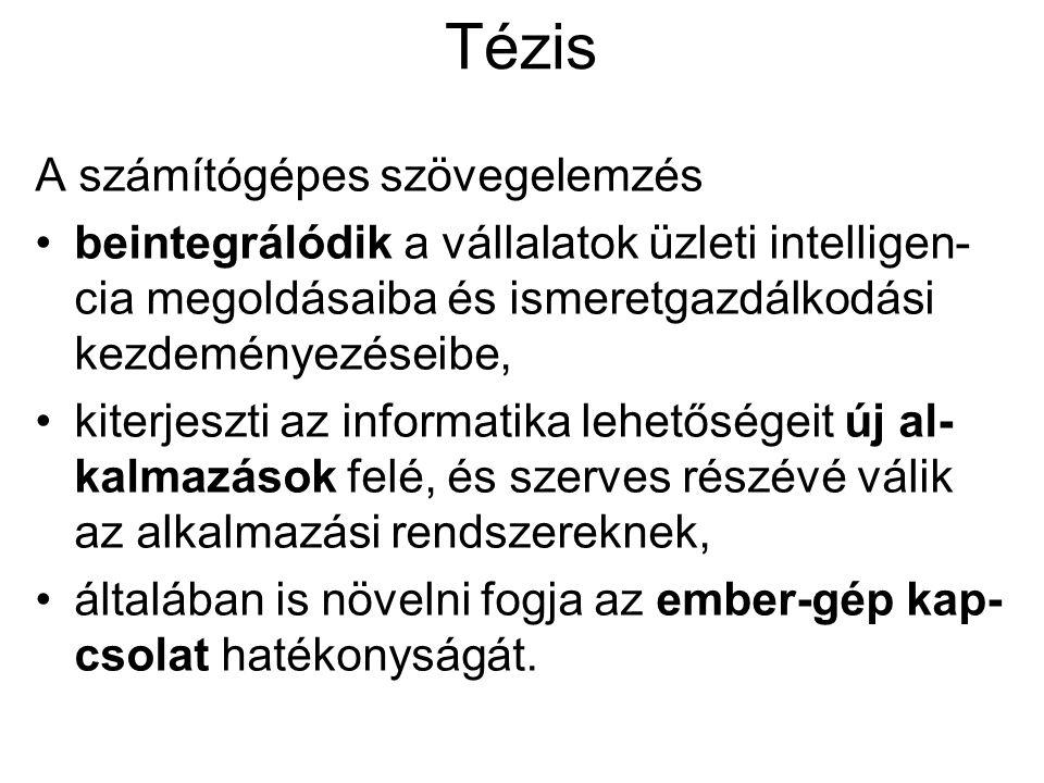 Várható fejlődés 2007 2012 2017 integrálódás az üzleti intelligencia eszközeivel magyar szintaktikai elemző nyelvi tudású internetkereső szövegértő és tanuló rendszerek szövegelemzés mindennapi környezetben morfológiai elemzés WordNet terjedőben nyelvi és szakontológiák együttes alkalmazása speciális grammatikák vállalati használatban tematikus elemzés