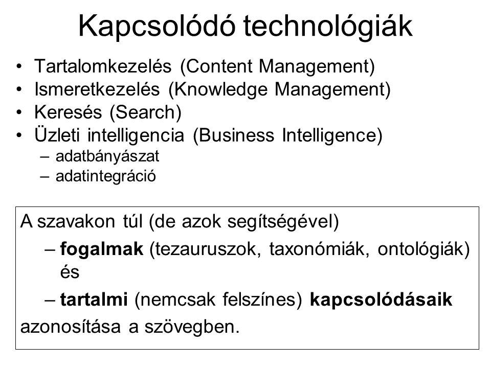 Kapcsolódó technológiák •Tartalomkezelés (Content Management) •Ismeretkezelés (Knowledge Management) •Keresés (Search) •Üzleti intelligencia (Business Intelligence) –adatbányászat –adatintegráció A szavakon túl (de azok segítségével) –fogalmak (tezauruszok, taxonómiák, ontológiák) és –tartalmi (nemcsak felszínes) kapcsolódásaik azonosítása a szövegben.