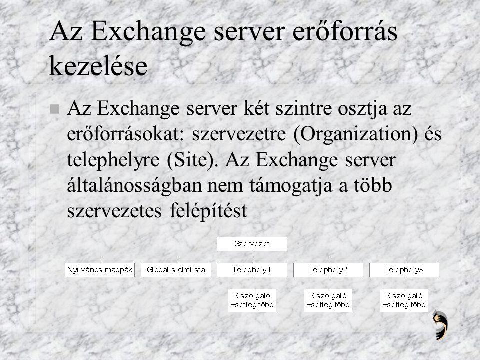 Az Exchange server erőforrás kezelése n Az Exchange server két szintre osztja az erőforrásokat: szervezetre (Organization) és telephelyre (Site).
