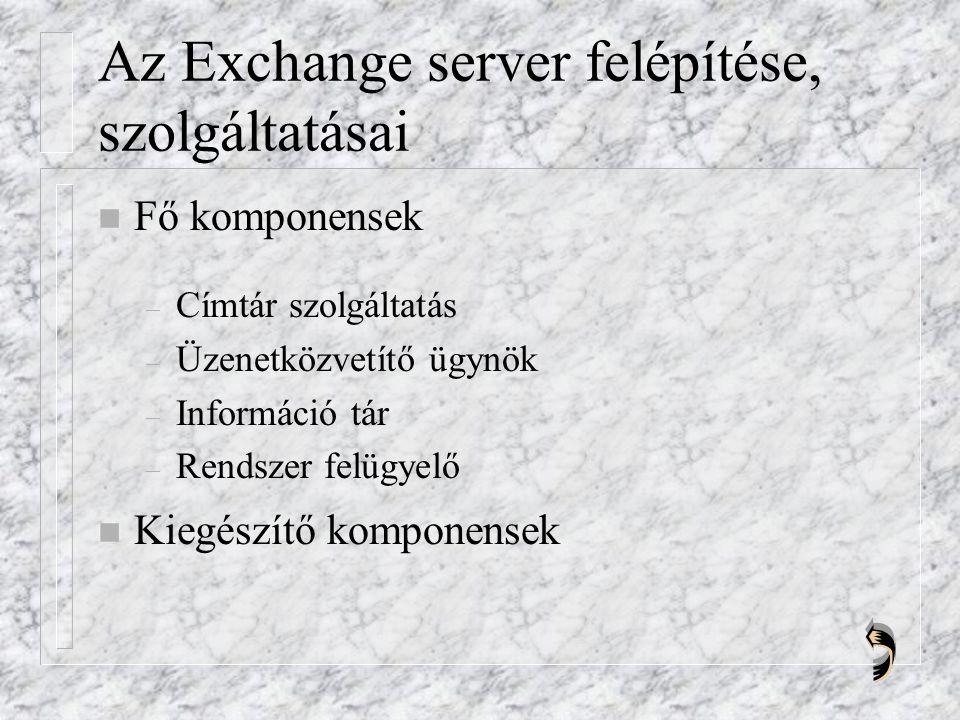 Az Exchange server felépítése, szolgáltatásai n Fő komponensek – Címtár szolgáltatás – Üzenetközvetítő ügynök – Információ tár – Rendszer felügyelő n Kiegészítő komponensek