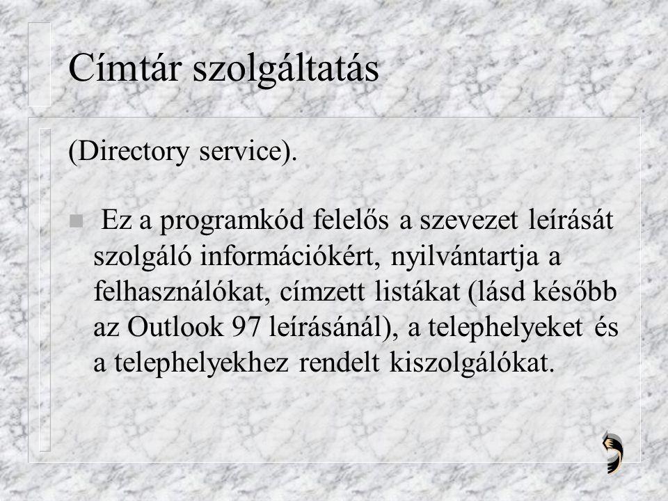Címtár szolgáltatás (Directory service).