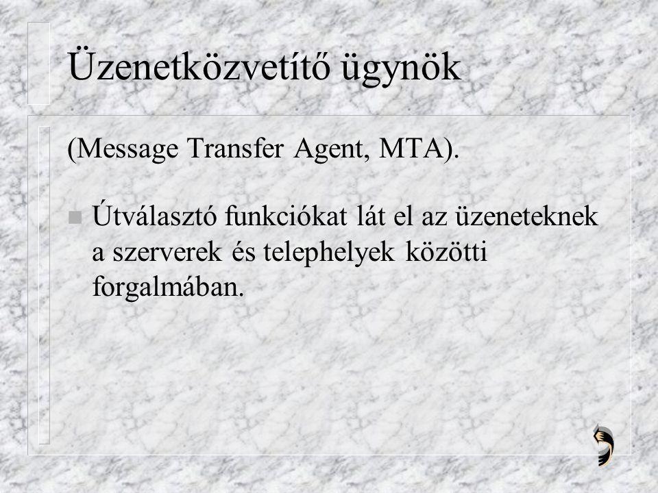 Üzenetközvetítő ügynök (Message Transfer Agent, MTA).